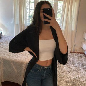 Forever 21 Black Cardigan with Embroidery